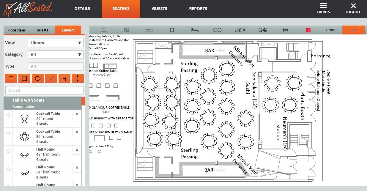 Melrose Event Floorplan Allseated