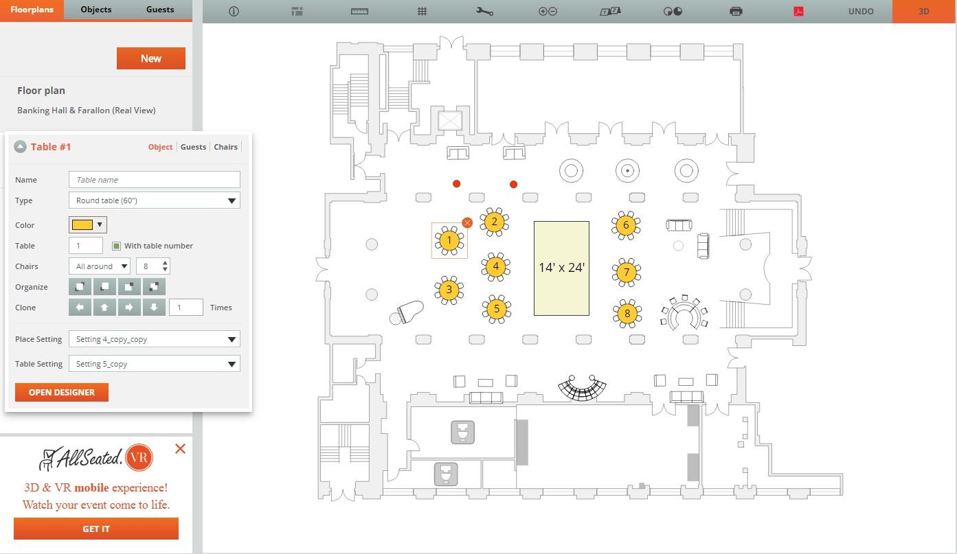 AllSeated 2D Floorplan